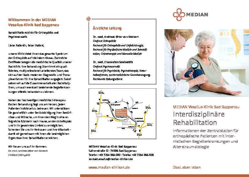 Informationsbroschüre Interdisziplinäre Rehabilitation der MEDIAN Vesalius Klinik Rappenau