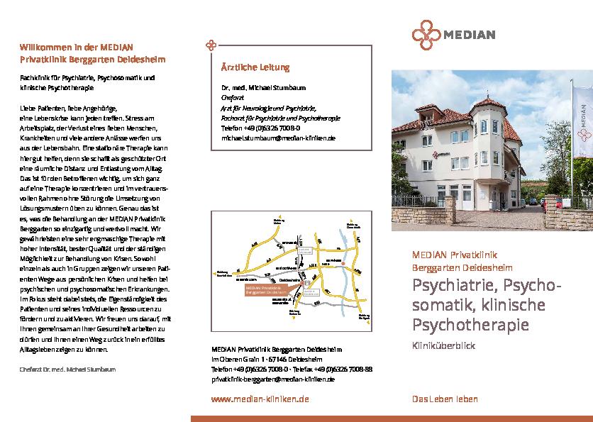 Infobroschüre Kliniküberblick der MEDIAN Privatklinik Berggarten Deidesheim