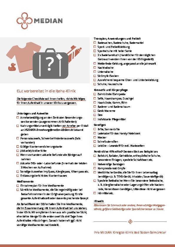 Packliste für einen Aufenthalt in der MEDIAN Kinzigtal Klinik Bad Salmünster