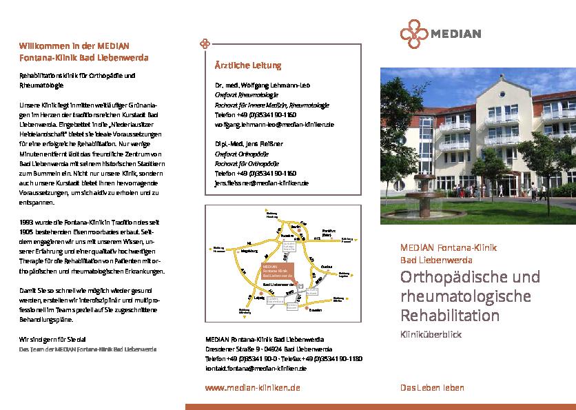 Infobroschüre Kliniküberblick der MEDIAN Fontana-Klinik Bad Liebenwerda