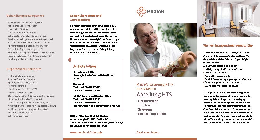 Infoflyer zur Abteilung HTS - Hörsturz, Tinnitus, Schwindel der MEDIAN Kaiserberg-Klinik Bad Nauheim