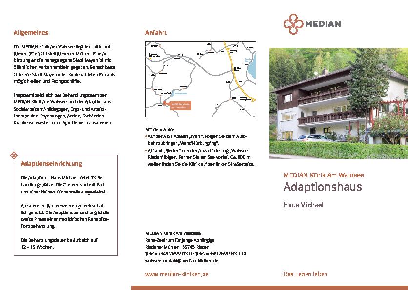 Infoflyer über das Adaptionshaus Haus Michael der MEDIAN Klinik am Waldsee