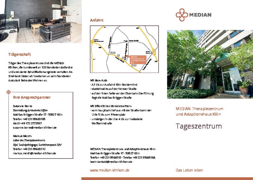 Infobroschüre Tageszentrum des MEDIAN Therapiezentrum und Adaptionshaus Köln