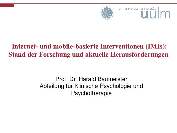 Vortrag Internet und mobile basierte Intervention bei MEDIAN