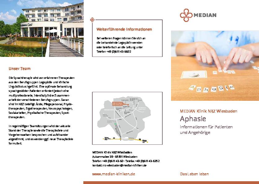 Infobroschüre Aphasie der MEDIAN Klinik NRZ Wiesbaden