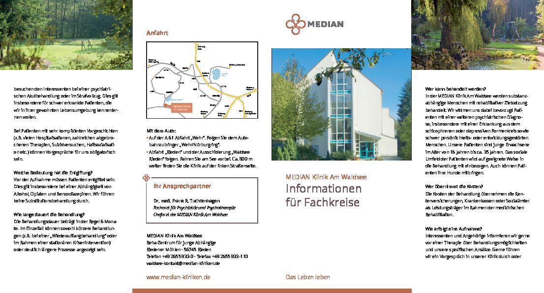 Infobroschüre Informationen für Fachkreise der MEDIAN Klinik am Waldsee