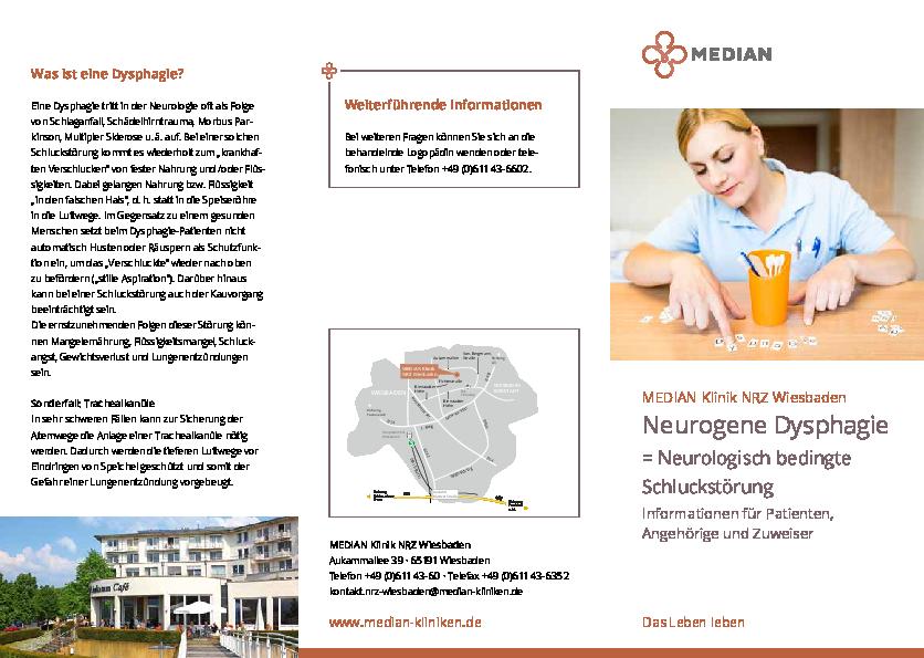Informationsmaterial zu Neurogene Dysphagie der MEDIAN Klinik NRZ Wiesbaden
