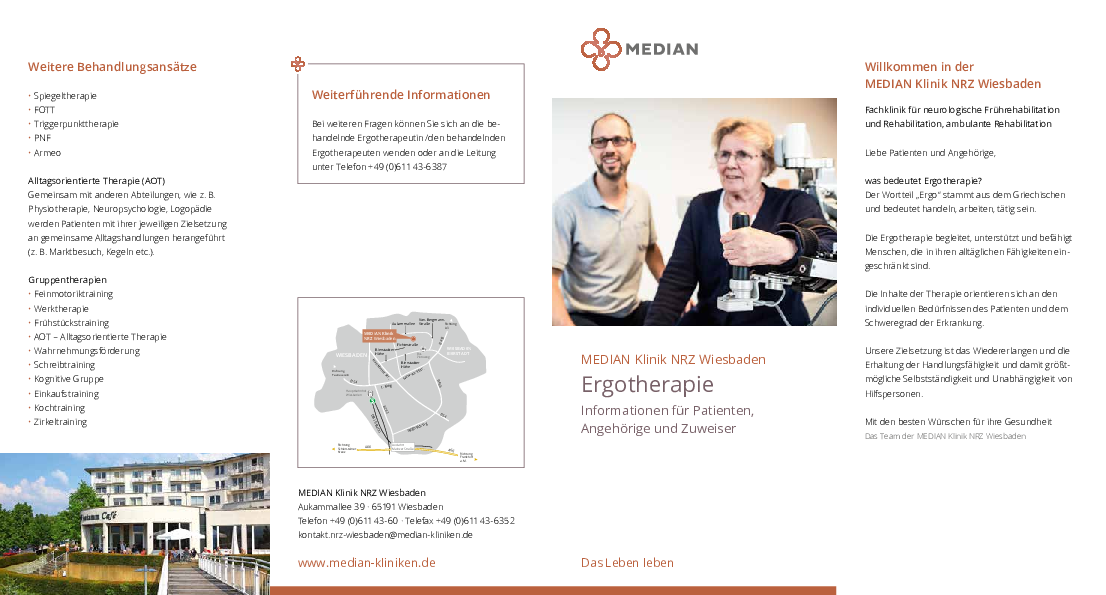 Infobroschüre Ergotherapie der MEDIAN Klinik NRZ Wiesbaden