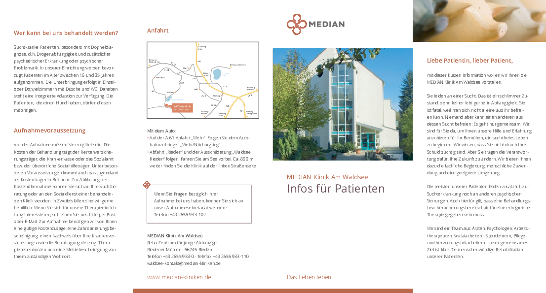 Infobroschüre Informationen für Patienten der MEDIAN Klinik am Waldsee