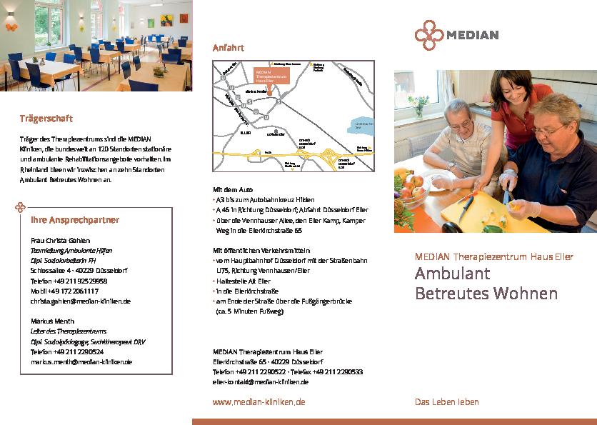 Infobroschüre Ambulantes Betreutes Wohnen des MEDIAN Therapiezentrum Haus Eller