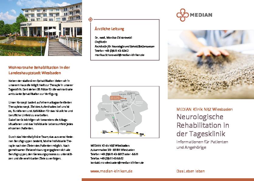 Infobroschüre Neurologische Rehabilitation in der Tagesklinik der MEDIAN Klinik NRZ Wiesbaden