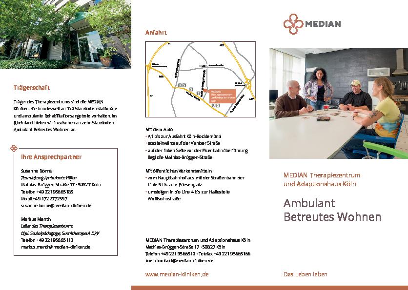 Infobroschüre Ambulantes Betreutes Wohnen des MEDIAN Therapiezentrum und Adaptionshaus Köln