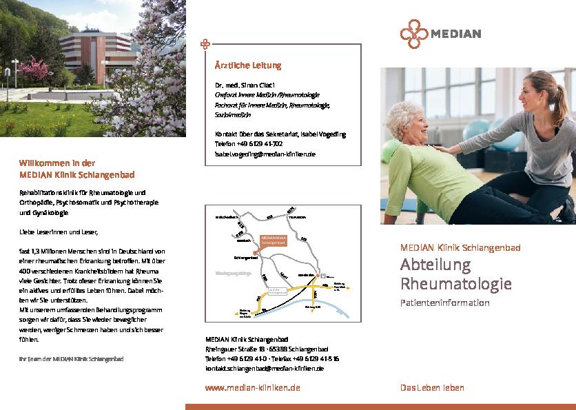 Informationsbroschüre zur Abteilung Rheumatologie der MEDIAN Klinik Schlangenbad