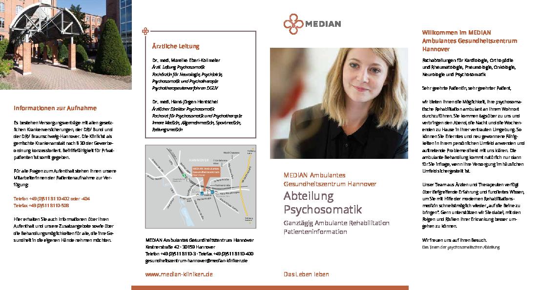 Informationsmaterial zur Abteilung Psychosomatik im MEDIAN Ambulantes Gesundheitszentrum Hannover
