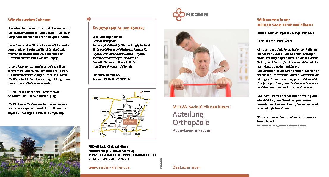 Infobroschüre Orthopädie der MEDIAN Saale Klinik Bad Kösen Klinik I