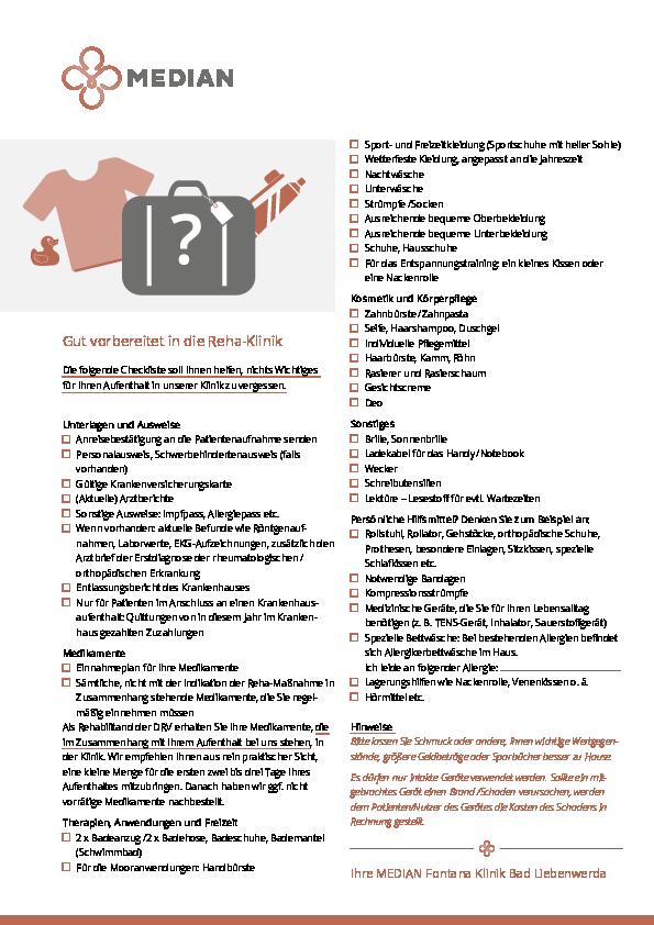 Packliste für den Aufenthalt in der MEDIAN Fontana-Klinik Bad Liebenwerda