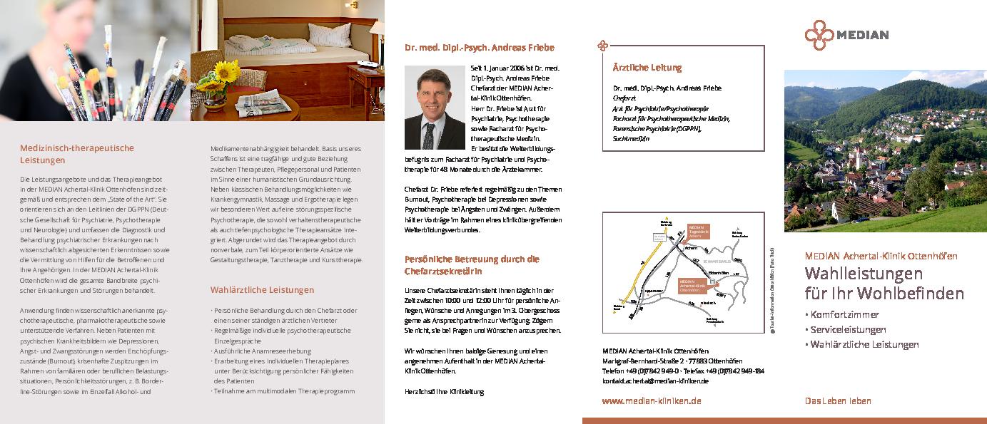 Infoflyer Wahlleistungen für ihr Wohlbefinden der MEDIAN Achertal-Klinik Ottenhöfen