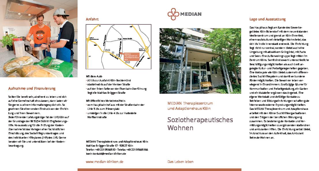 Infobroschüre Soziotherapeutisches Wohnen MEDIAN Therapiezentrums und Adaptionshaus Köln