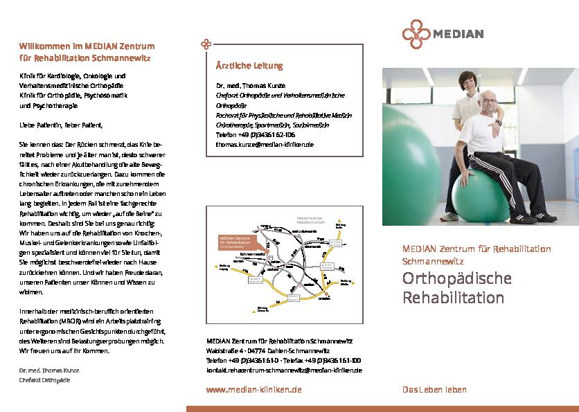 Orthopädische Rehabilitation Flyer bei MEDIAN Zentrum für Rehabilitation Schmannewitz