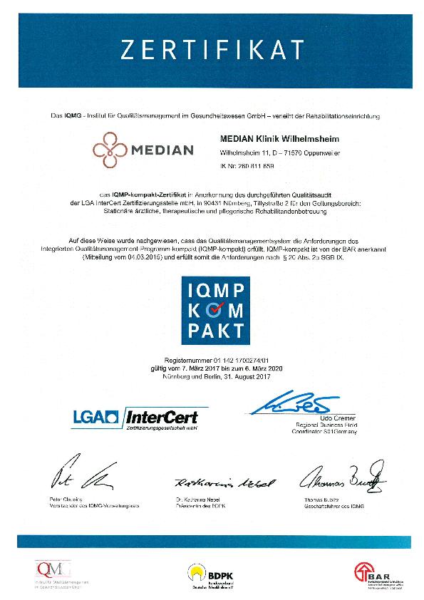IQMP-Zertifikat für die MEDIAN Klinik Wilhelmsheim