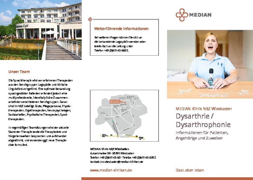 Informationsmaterial zu Dysarthrie/Dysarthrophonie der MEDIAN Klinik NRZ Wiesbaden