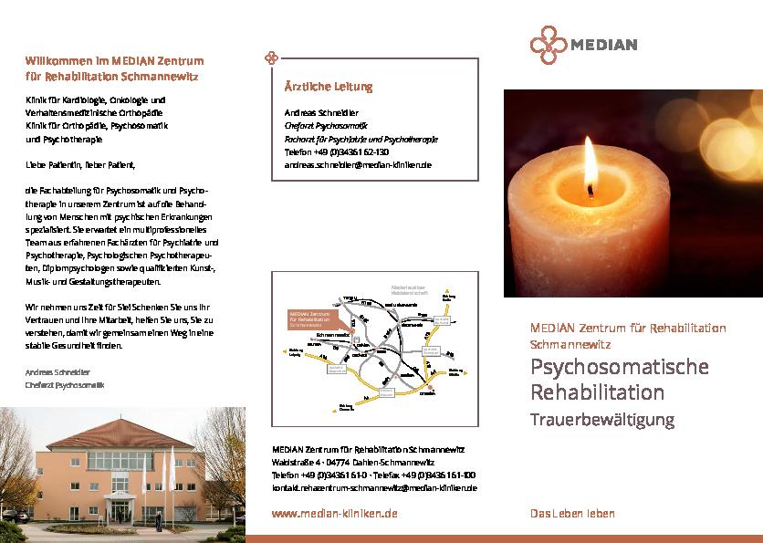 Trauerbewältigung Flyer bei MEDIAN Zentrum für Rehabilitation Schmannewitz