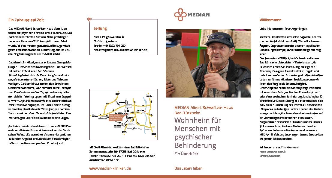 Flyer Wohnheim für Menschen mit psychischer Behinderung MEDIAN Albert-Schweitzer-Haus Bad Dürkheim