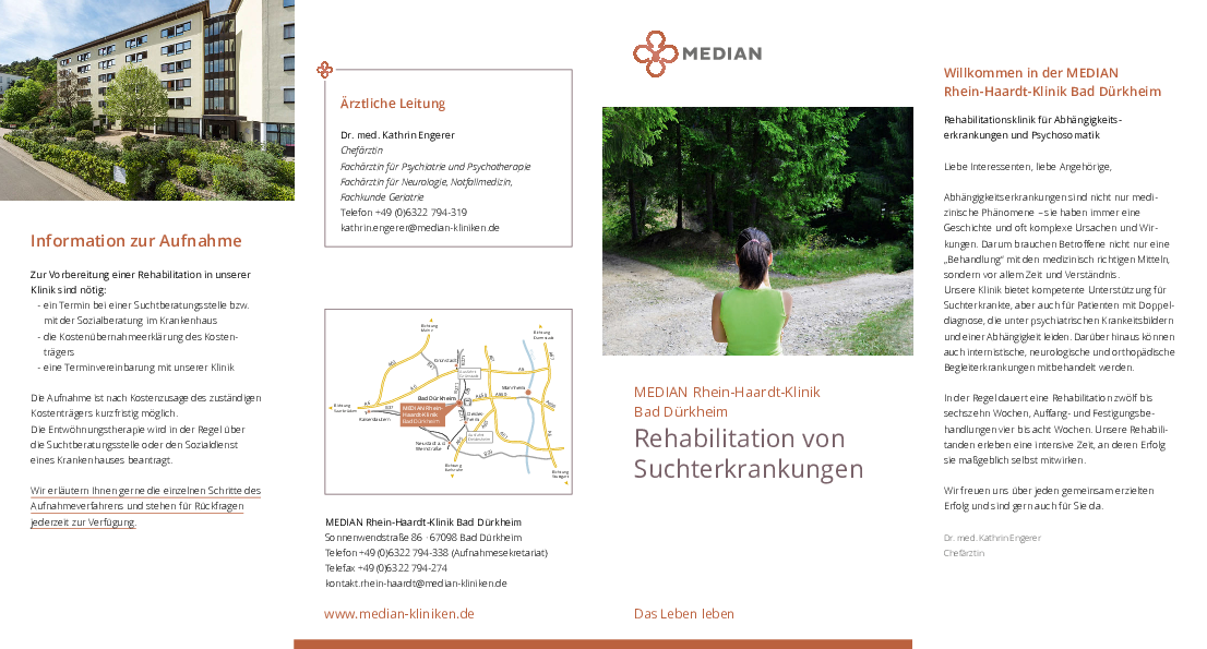 Infomaterial zum Thema Suchterkrankungen der MEDIAN Rhein-Haardt-Klinik Bad Dürkheim