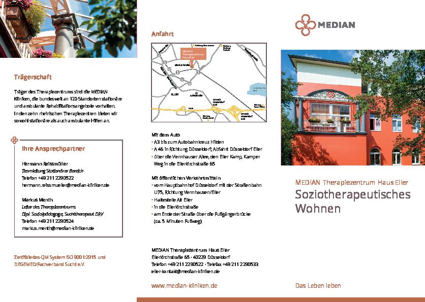 Infobroschüre Soziotherapeutisches Wohnen des MEDIAN Therapiezentrum Haus Eller