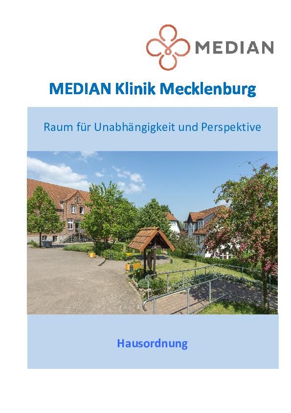 Infobroschüre Hausordnung der MEDIAN Klinik Mecklenburg