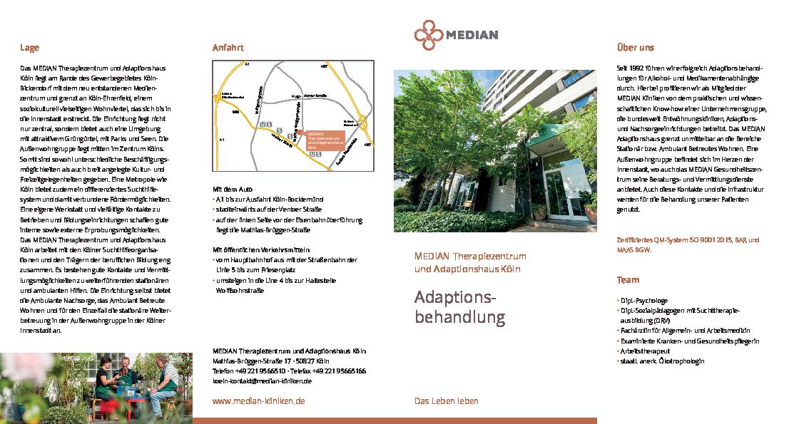 Infobroschüre Adaptionsbehandlung des MEDIAN Therapiezentrum und Adaptionshaus Köln