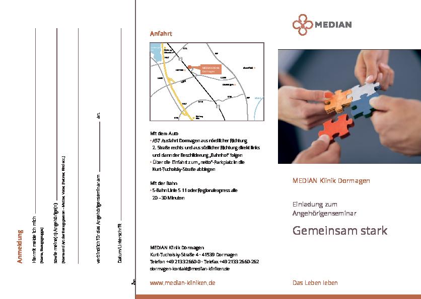 Infobroschüre Angehörigenseminar der MEDIAN Klinik Dormagen