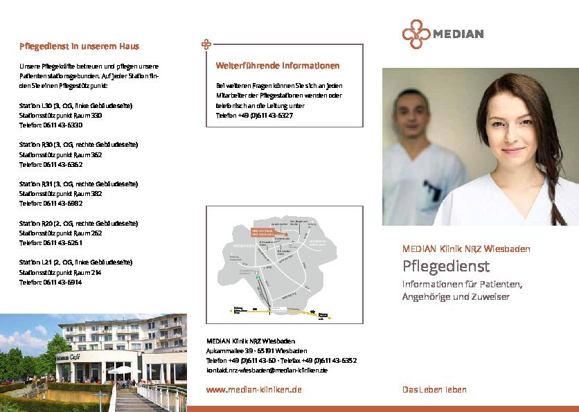 Infomaterial zum Pflegedienst der MEDIAN Klinik NRZ Wiesbaden