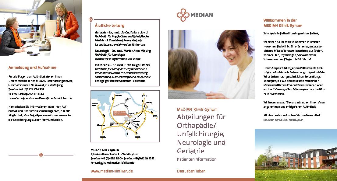 Infobroschüre zur Abteilung Orthopädie der MEDIAN Klinik Gyhum