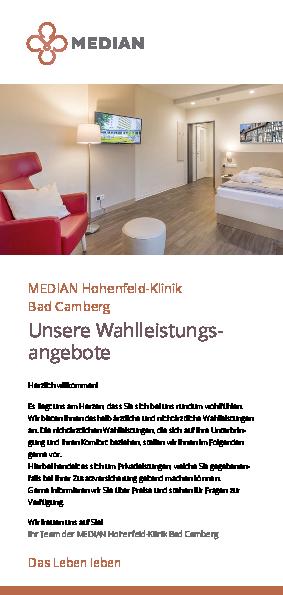 Infoflyer unsere Wahlleistungsangebote der MEDIAN Hohenfeld-Klinik Bad Camberg