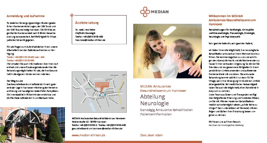 Infobroschüre Abteilung Neurologie des MEDIAN Ambulantes Gesundheitszentrum Hannover