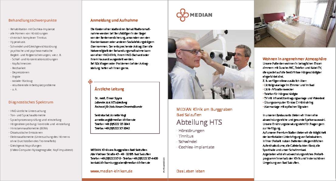 Infobroschüre Abteilung HTS der MEDIAN Klinik am Burggraben Bad Salzuflen