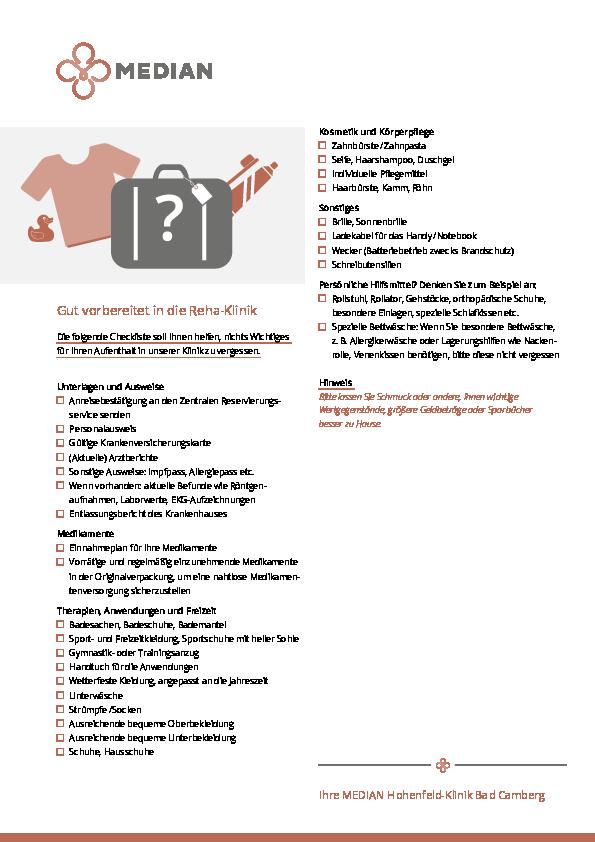 Infoflyer Packliste der MEDIAN Hohenfeld-Klinik Bad Camberg