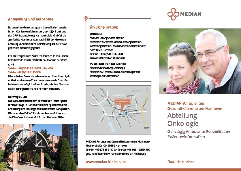 Infobroschüre zur Abteilung Onkologie des MEDIAN Ambulantes Gesundheitszentrum Hannover