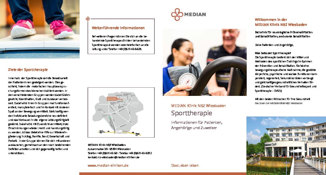 Infomaterial zur Sporttherapie in der MEDIAN Klinik NRZ Wiesbaden