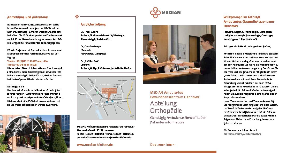 Infobroschüre zur Abteilung Orthopädie des MEDIAN Ambulantes Gesundheitszentrum Hannover