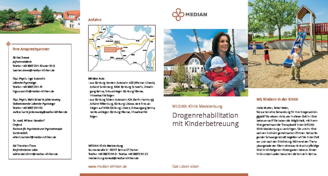 Infobroschüre Drogenrehabilitation durch Kinderbetreuung der MEDIAN Klinik Mecklenburg