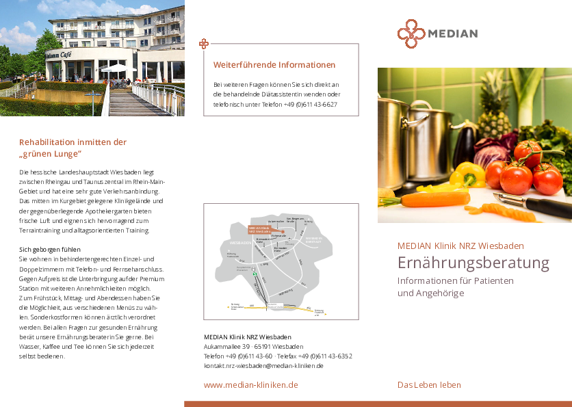 Infobroschüre Ernährungsberatung der MEDIAN Klinik NRZ Wiesbaden