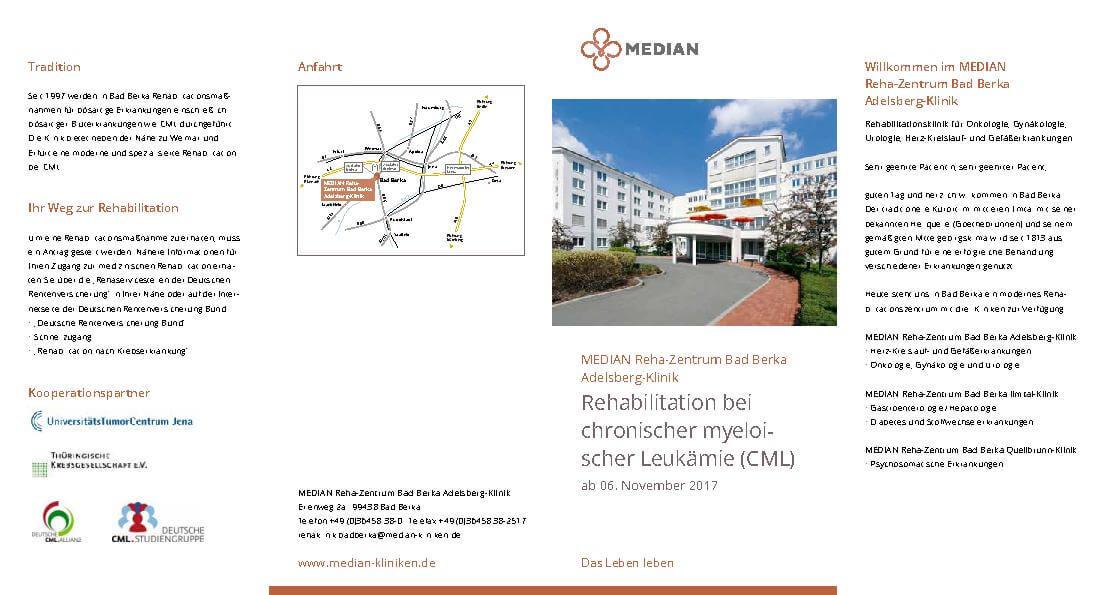 Infobroschüre zu Rehabilitation bei chronischer myeloischer Leukämie des MEDIAN Reha Zentrums Bad Berka Adelsberg-Klinik