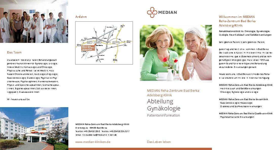 Infobroschüre Gynäkologie des MEDIAN Reha-Zentrum Bad Berka Adelsberg-Klinik