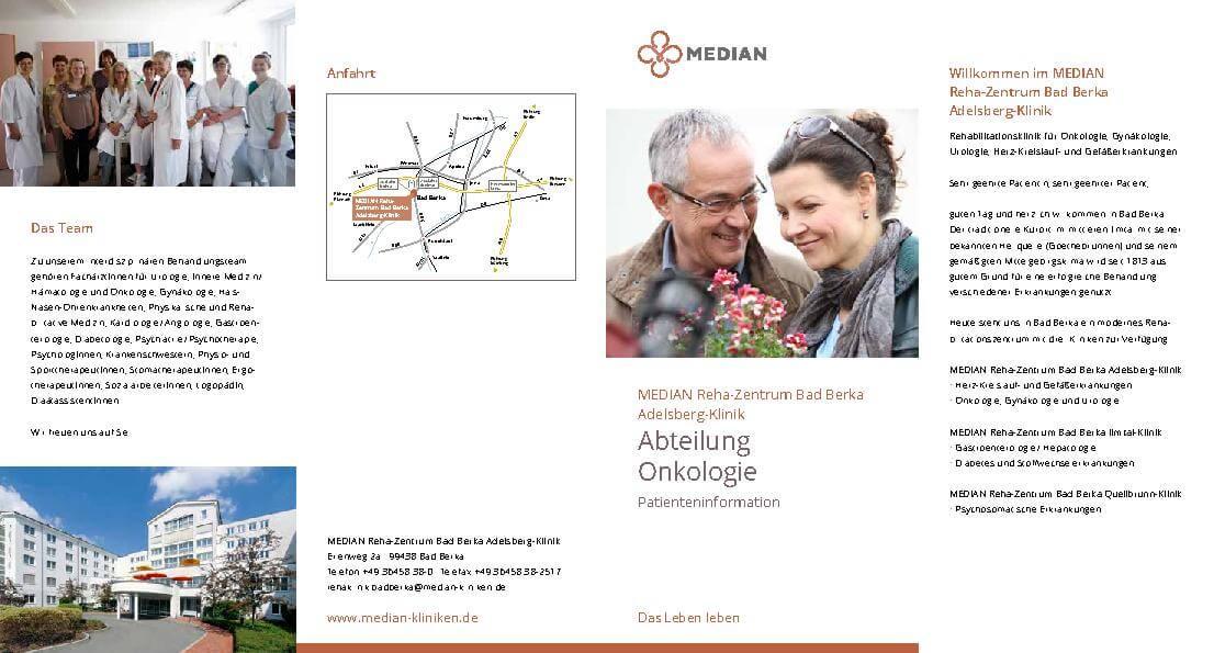 Infomaterial Onkologie des MEDIAN Reha-Zentrum Bad Berka Adelsberg-Klinik