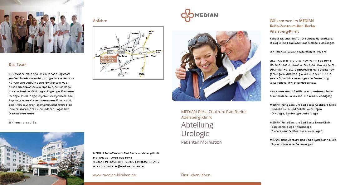 Infobroschüre zur Abteilung Urologie des MEDIAN Reha-Zentrum Bad Berka Adelsberg-Klinik