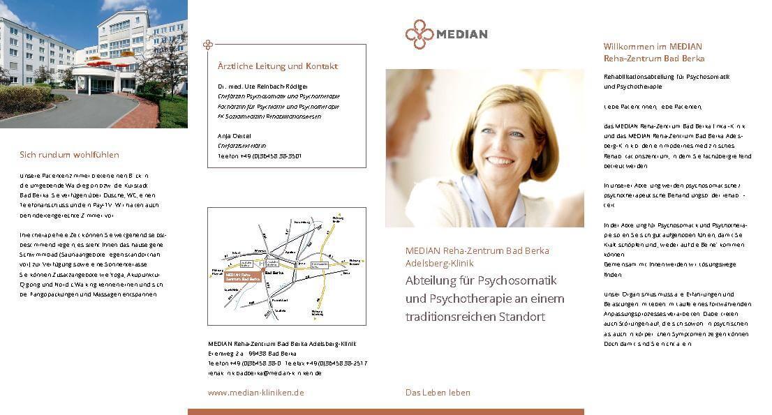 Infoflyer Psychosomatik und Psychotherapie des MEDIAN Reha-Zentrum Bad Berka Adelsberg-Klinik