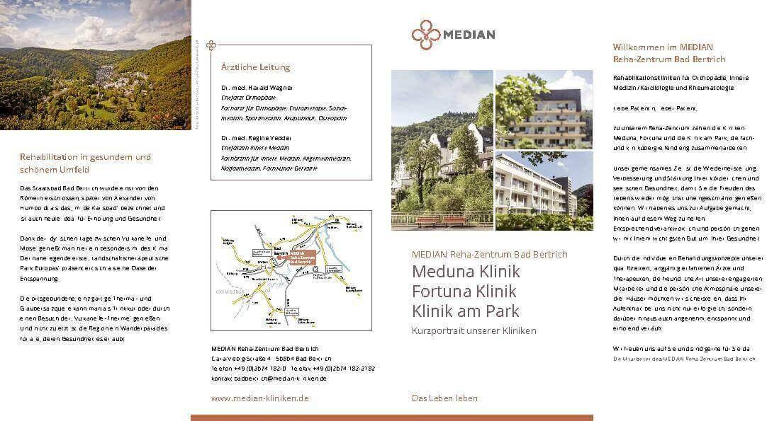 Infobroschüre Kurzportrait über die drei Kliniken des MEDIAN Reha-Zentrum Bad Bertrich