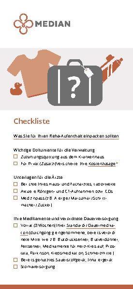 Checkliste für den Aufenthalt im MEDIAN Reha-Zentrum Bad Bertrich